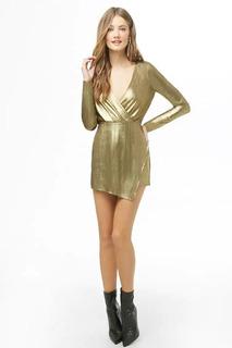 Romper Metalizado Forma De Vestido Enfrente