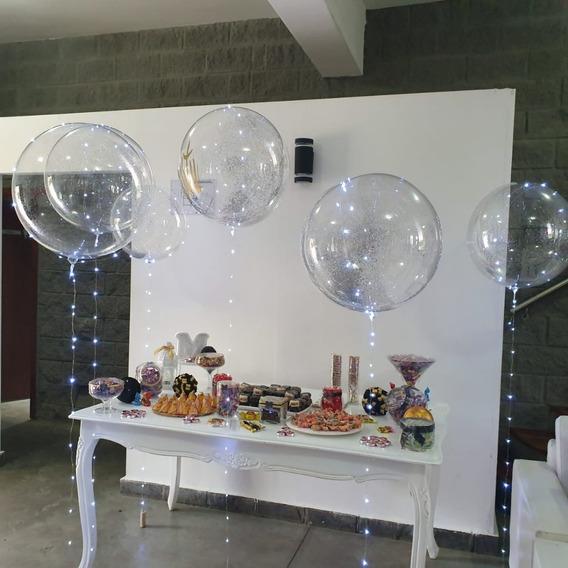 Pack 6 Globos Burbujas 1 Pesonalizado 5 Con Brillos,