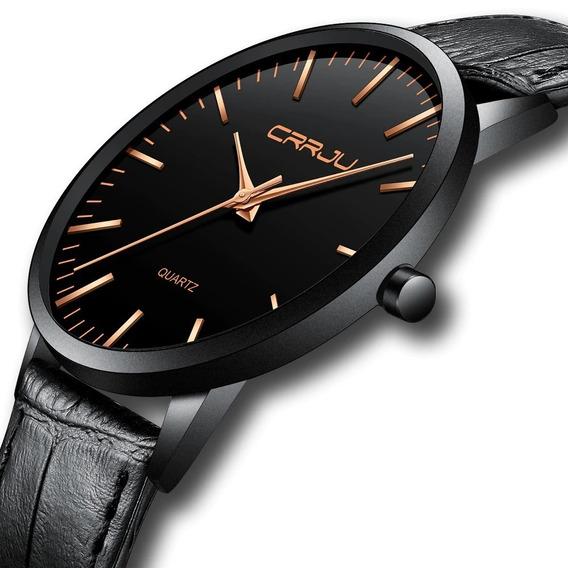 Relógio Masculino Casual Ultra Fino De Luxo Preto E Dourado