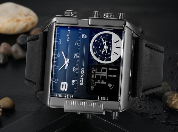 Relógio Masculino Preto Boamigo Couro Xxl Digital Dual