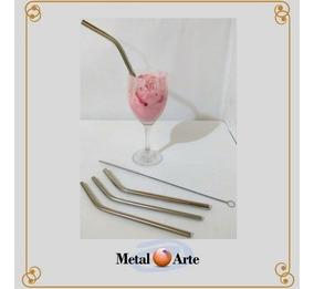 Canudo Reutilizável Kit Com Retos E Curvos Metal Arte