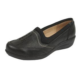 Flats Casuales Confort Dama 012805 Negros De Piel Tp19