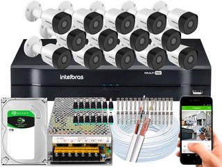 Kit Cftv 14 Cameras Segurança 3230 B Intelbras Dvr 16 Canais