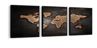 Quadro Mapa Mundo Retro Moldura Lisa Madeira Preta