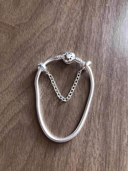 Pulseira Prata 925 Importada Com Trava De Segurança Luxo