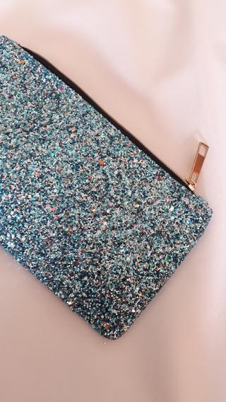 Bolsa Cosmetiquera Lapicera Glam Azul, Bonita, Brillos