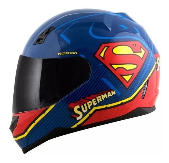 Capacete Norisk Ff391 Superman Symbol Azul Brilho