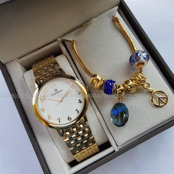 Relógio Feminino Champion Ch22911s Kit Semijoia