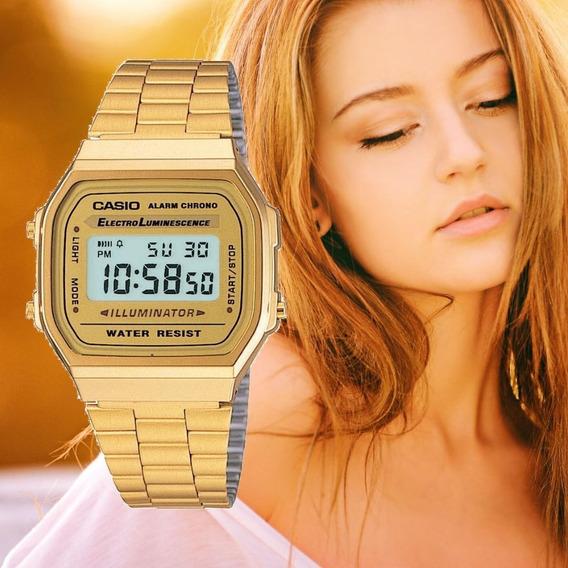 Relógio Feminino Casio Digital Dourado Vintage - A168wg9wdfu
