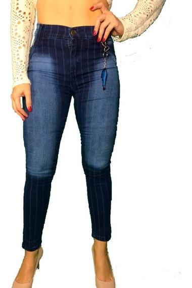 Calça Jeans Feminina Listrada Cós Alto Hot Pants Cigarrete
