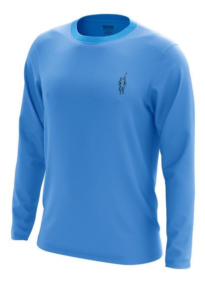 Camiseta Segunda Pele Pescador (f) Azul Celeste Fator Uv50