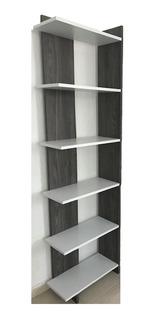 Librero Esquinero Blanco Con Roble Samano Derecho Moderno