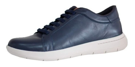 Sapato Tênis Masculino Couro Azul Usaflex Conforto 9801
