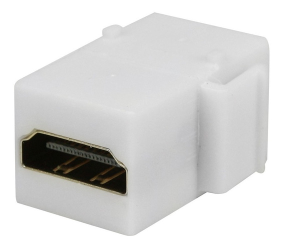 Conector Hdmi Plug Fêmea Keystone Emenda Branco