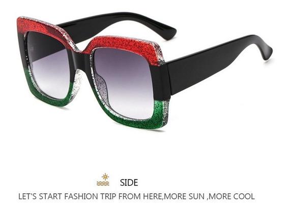 Óculos De Sol Grande Feminino Vintage Colorido Moda Luxo