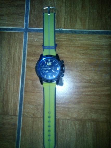 Reloj Cat Color Verde Con Negro, Cristal Azul