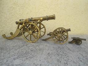 Conjunto De 03 Canhões Antigos Em Bronze C496 Frete Grátis