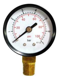 Manometro Agua 100 Psi, 7 Bar 1/4