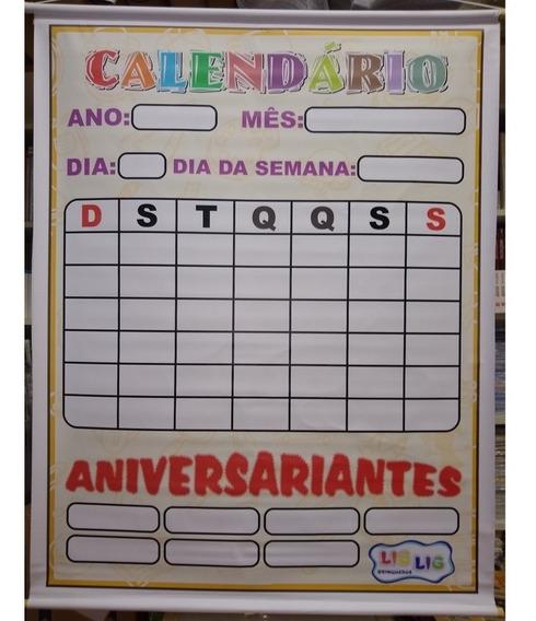 Painel Banner Lona Calendário E Aniversariantes 1,05 X 0,90