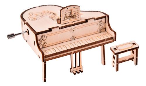 Imagen 1 de 12 de Diy 3d Piano De Hecho A Mano Manivela Antigua Tallada Caja