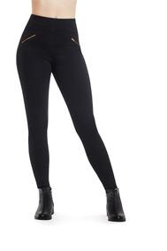 Leggings Dama Stretch Negro Zippers En Piernas Devendi