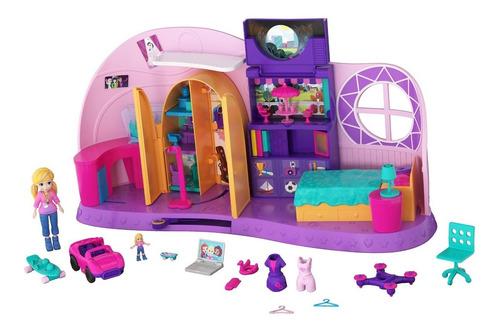 Set De Juego Habitación Go Tiny! Polly Pocket Con Muñecas