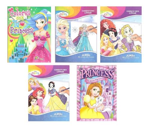 Imagen 1 de 6 de 5 Libros Jumbo Princesas Colorear Iluminar Para Niña Surtido