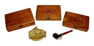 Set Pipa + Boquilla + Cenicero + 03 Cajas Cigarros Antiguas