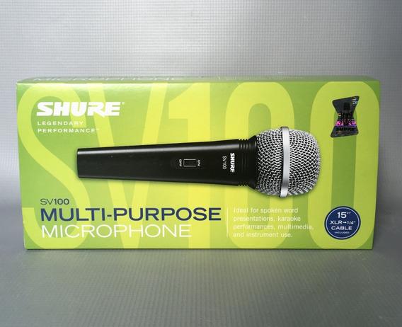 Microfone Shure Sv100 Com Cabo Xlr P10 Original