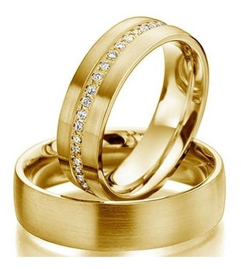 Par Alianças Casamento Ouro 18k 6.0mm Cravejada Wmjóias