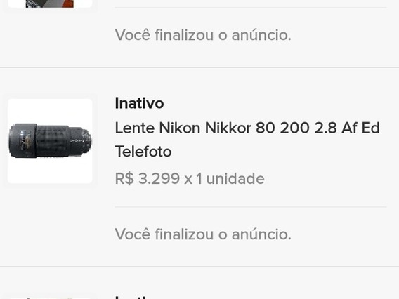 Lente Nikon 80-200 2.8 Ed Semi Nova