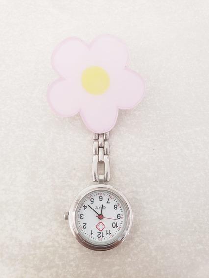 Reloj Enfermera Plateado Flor