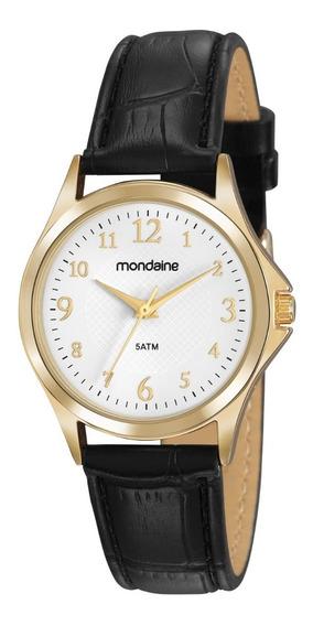 Relógio Mondaine Feminino Couro Analógico Dourado Original