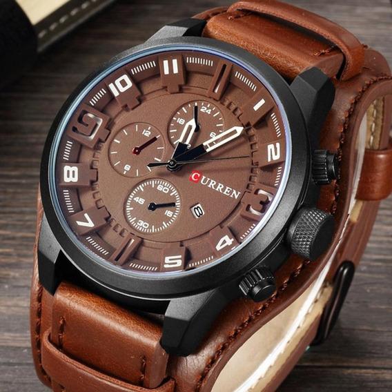 Relógio Curren Marrom 8225 Social Luxo Couro Oferta
