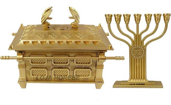 Arca Da Aliança Grande+ Candelabro Fé Grande Dourado
