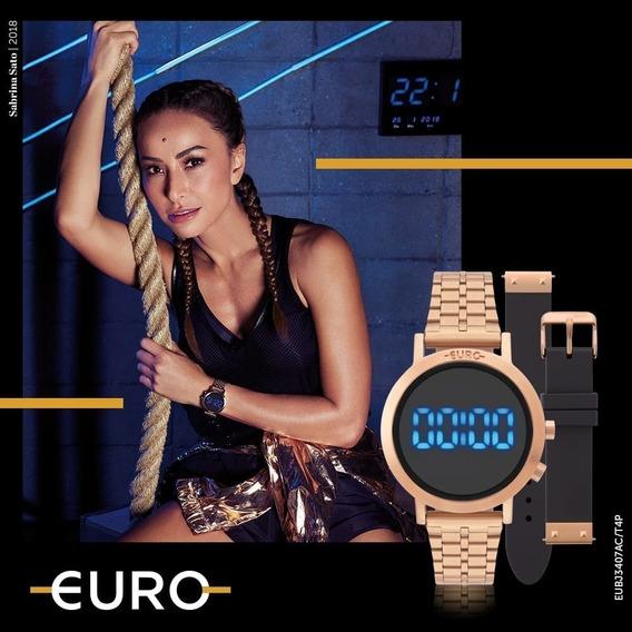 Relógio Feminino Rose Gold Digital Led Azul Euro Eubj3407ac/t4p Original Com Pulseira Silicone Extra Preta
