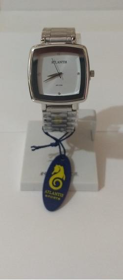Relógio Feminino Quadrado Prata Original Atlantis
