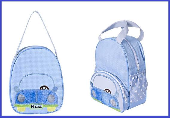 Kit Mochila Maternidade Bebê Fusca Azul Bolsa Menino P E G