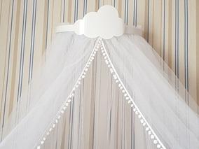 Dossel De Parede Branco Com Nuvem + Mosquiteiro Berço