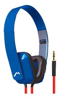 Audífono Diadema Plegable Cable Plano Mh-5028 Azul Mitzu Full