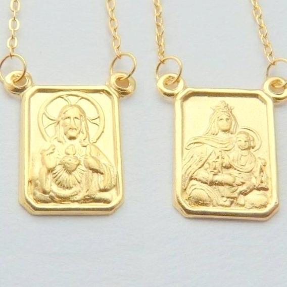 Escapulário De Ouro 18k Sagrado Coração E Menino Jesus 1081.