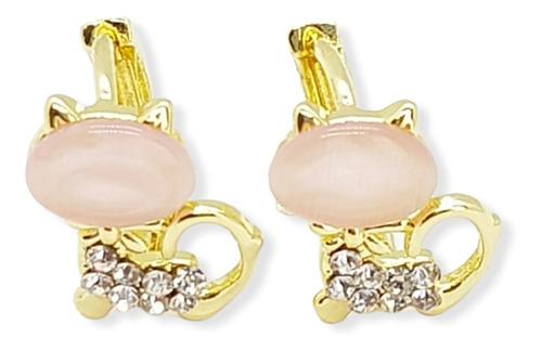 Imagen 1 de 3 de Aretes Gato Con Cristales Para Niñas Coquetos