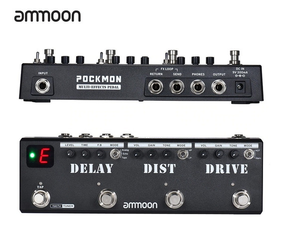 Pedal Para Guitarra Multiefeitos Pokmon ( Delay, Distorção,overdrive) + Fonte Bivolt Pronta Entrega