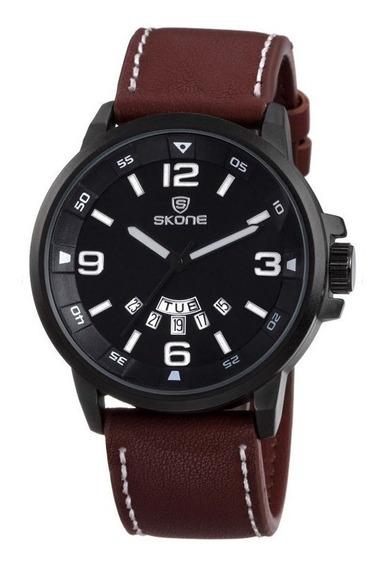 Relógio Masculino Skone Analógico Casual 9345ag Marrom