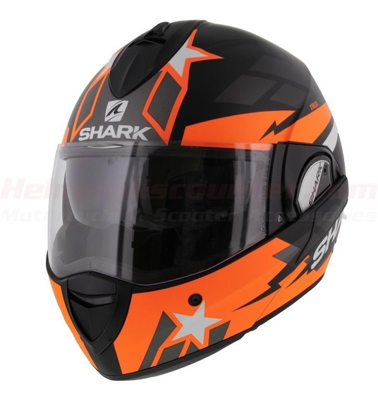 Capacete Shark Evoline 3 Strelka - Preto/laranja