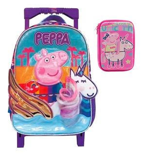 Combo Mochila Peppa Pig Carro 12 + Cartuchera Licencia Of.