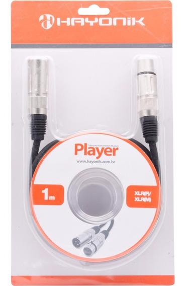 Cabo P/ Microfone Xlr(f) X Xlr(m) 1 Mto Player Preto Hayonik