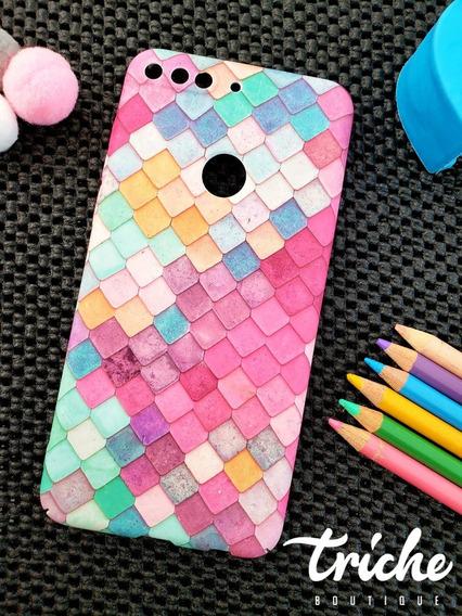 Funda Case Mosaico Colores Sirena Dama Huawei Y7 2018