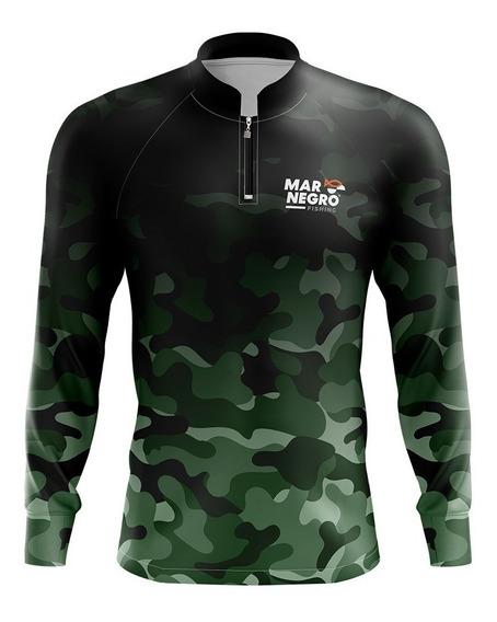 Camisa De Pesca Proteção Solar 50 Fps Uv Mar Negro Camuflado