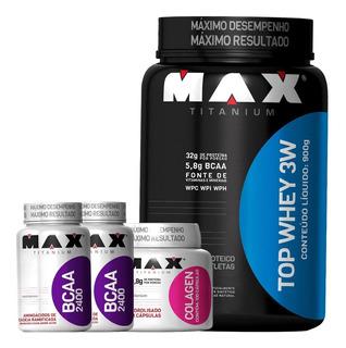Combo Top Whey Protein 3w + Colágeno + 2 Bcaa - Max Titanium